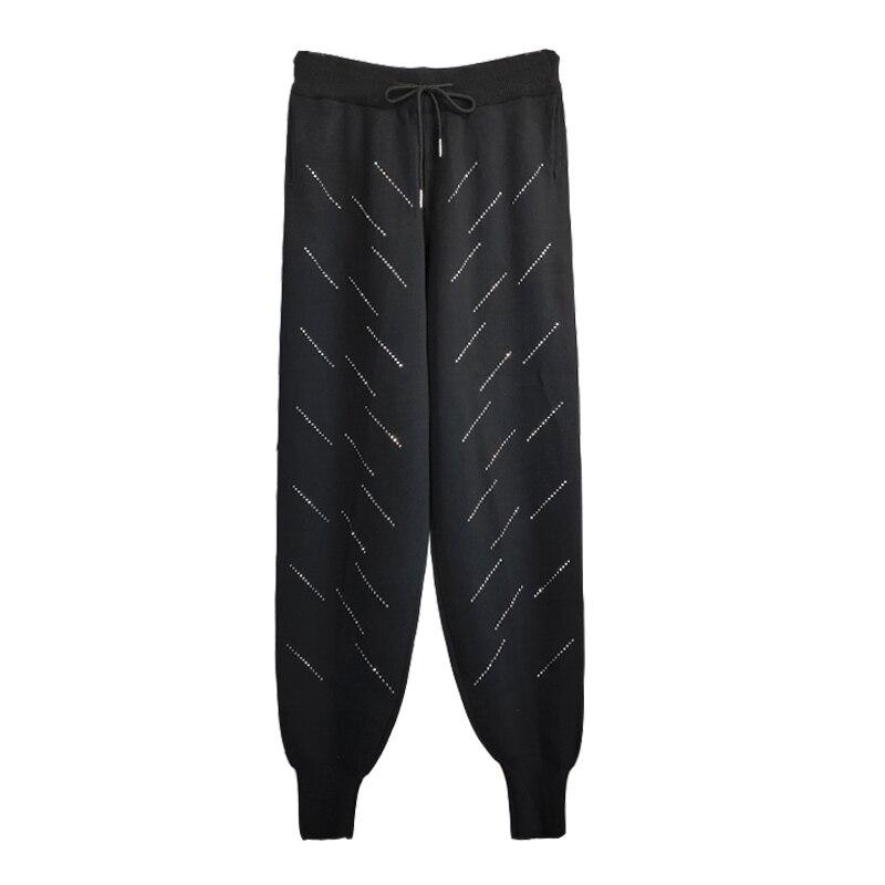 Qiukichonson Hot Drilling Diamond Black Women Jogger Pants 2019 England Style High Waist Knitted Sweatpants Casual Harem Pants