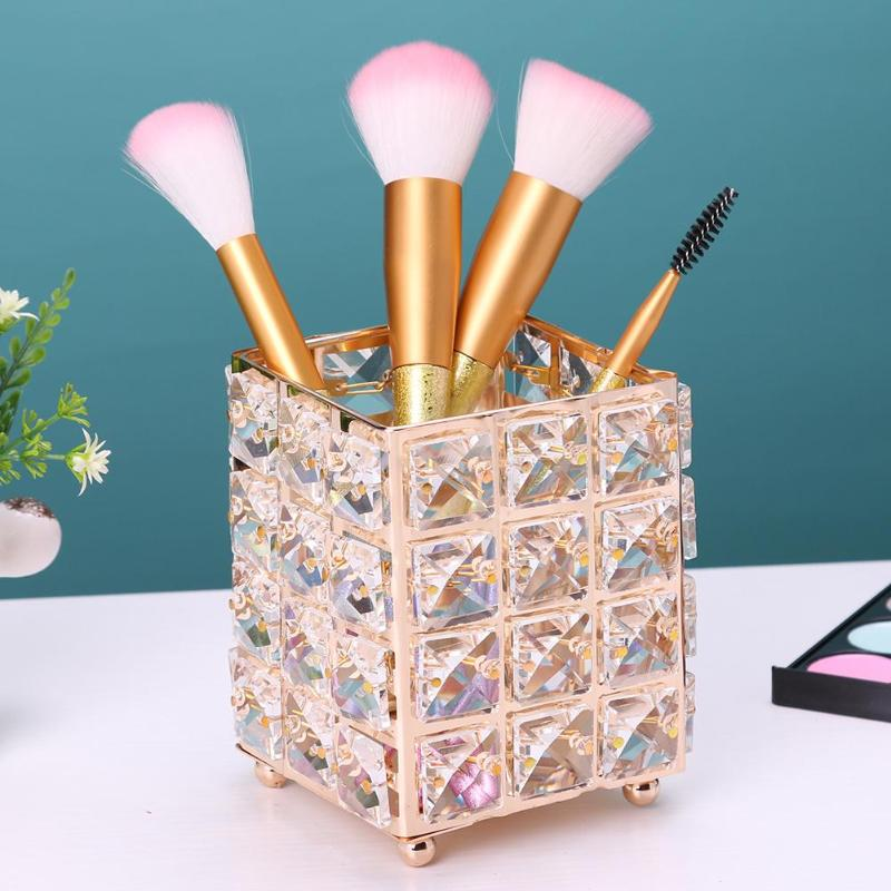 1PC Elegant Metal Crystal Makeup Brush Holder Gold Silver Diamond Cosmetic Storage Tube Pens Organizer Box