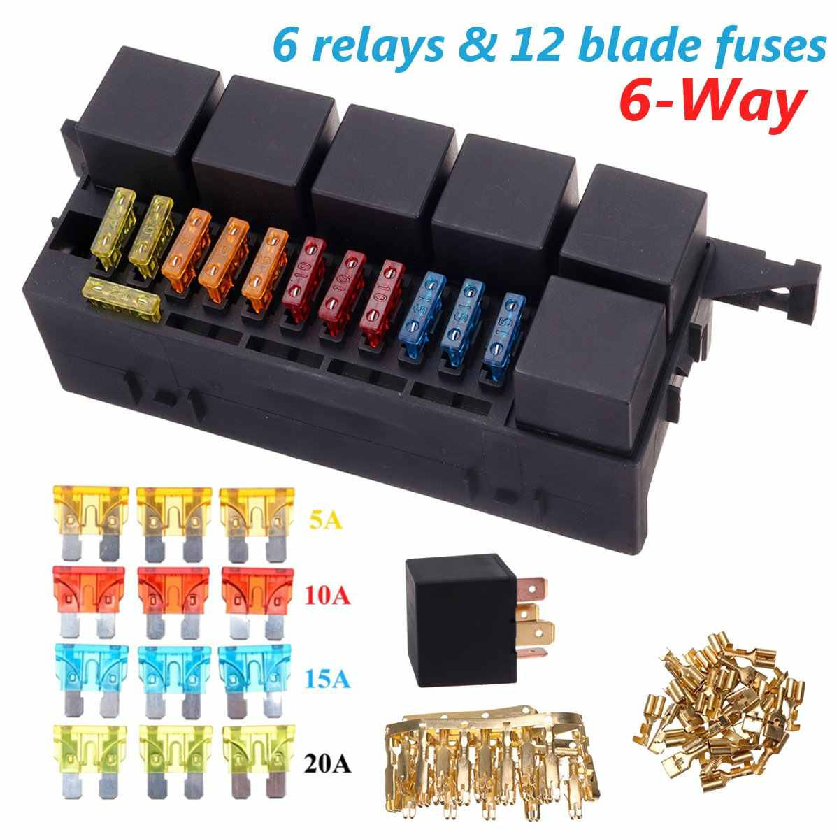 hight resolution of auto car part 6 way 6 relays w relay box 12 blade fuses waterproof
