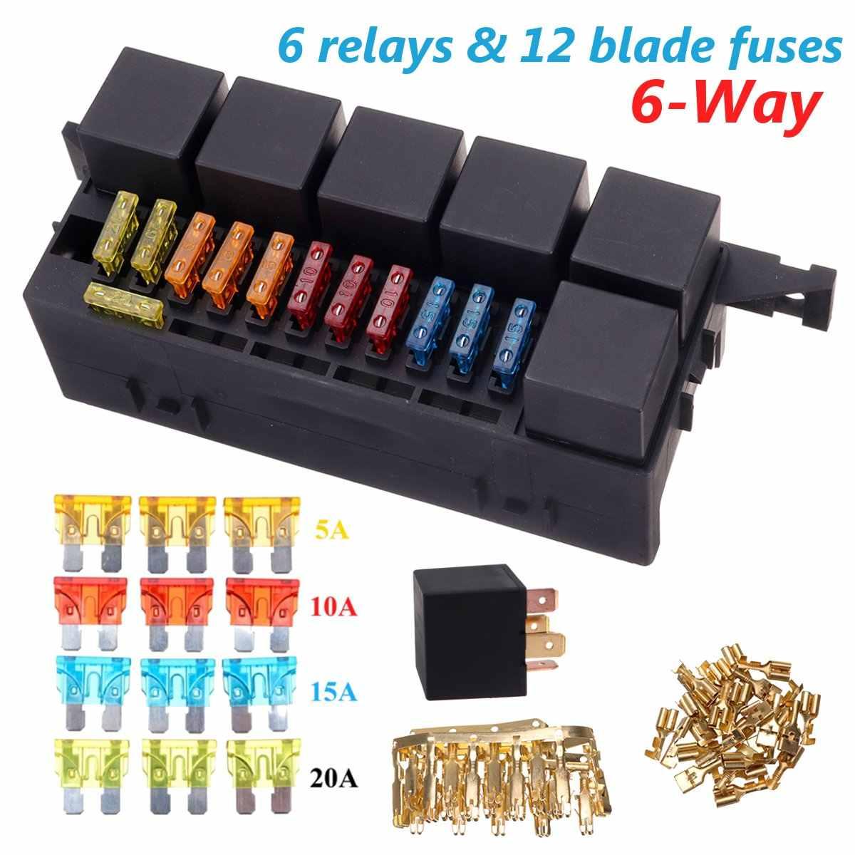 medium resolution of auto car part 6 way 6 relays w relay box 12 blade fuses waterproof