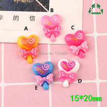 Lollipop Resin Flat back Cabochon Heart Shape Decoration Crafts 20mm 10pcs Scrapbooking Fit Phone Embellishments Diy Accessories