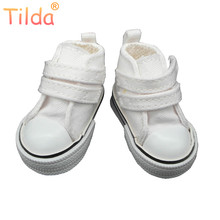 Tilda Fashion Shoes For Paola Reina Doll,Canvas Denim Toy Sport Shoes for Corolle,1/4 Bjd Doll Footwear Gym Sneakers for Dolls(China)