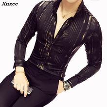 Luxury Gold Shirt Men 2018 New Long Sleeve Black White Navy Red Party Club Sexy Night club Bar Stage Clothing Male Xnxee