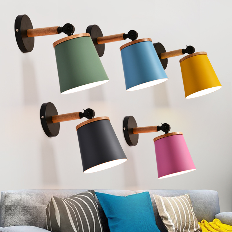 Nordic Led Indoor Wall Lamp Modern Wooden Wall Sconce Macarons Colorful Bedside Room Light Corridor Stair