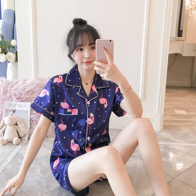 2019 Summer Women's Pajamas Sets with Flower Print Fashion Luxury Female Faux Silk Two Pieces Shirts + Pants Nighties Sleepwear(China)