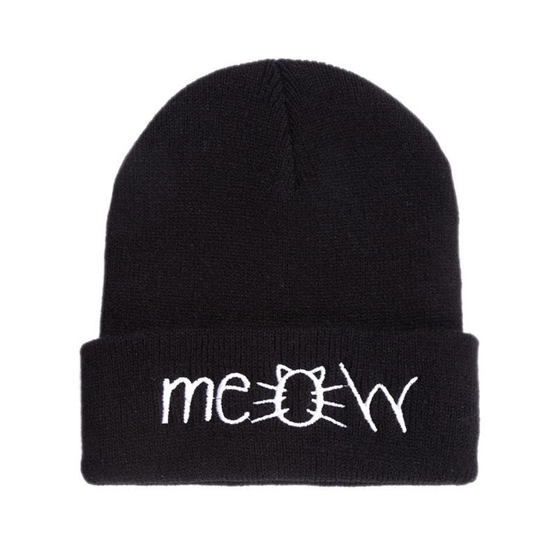 MEOW Wool Hat Hiphop Cap Hip Hop Hip-hop Knit Beanie Mens And Womens Cotton Stretch Warm Knitted 2018 New