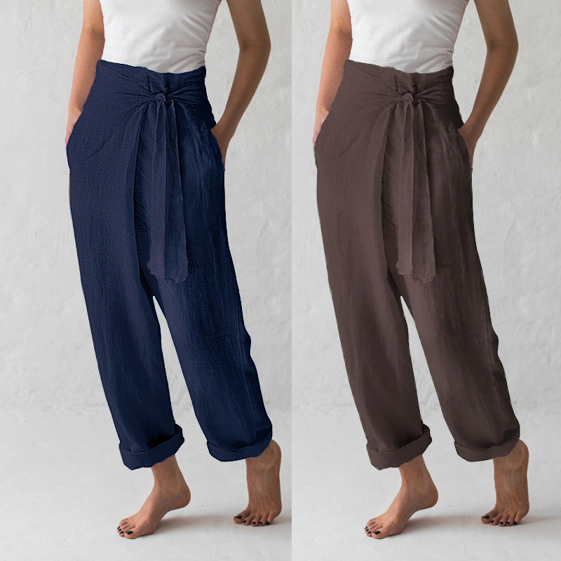 Celmia Plus Size S-5XL 2019 Summer Women High Elastic Waist Palazzo Womens   Wide     Leg     Pants   Vintage Trouser Casual Loose Pantalon