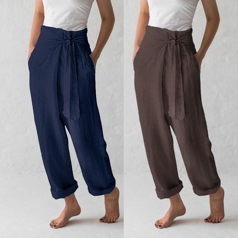 Celmia Plus Size S-5XL 2019 Summer Women High Waist Palazzo Womens   Wide     Leg     Pants   Vintage Trouser Casual Loose Solid Pantalon
