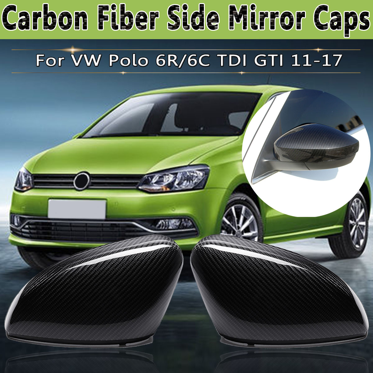 Kibowear for VW Polo 6R 6C Side Door Wing Mirror Cover Replace caps Carbon look
