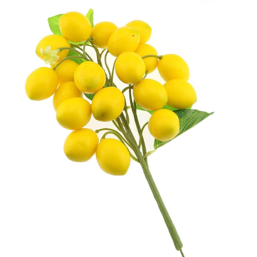 Gresorth Fake Fruit Bunch Decoration Artificial Lemon Lifelike Food Home Kitchen Shop Party Christmas Display