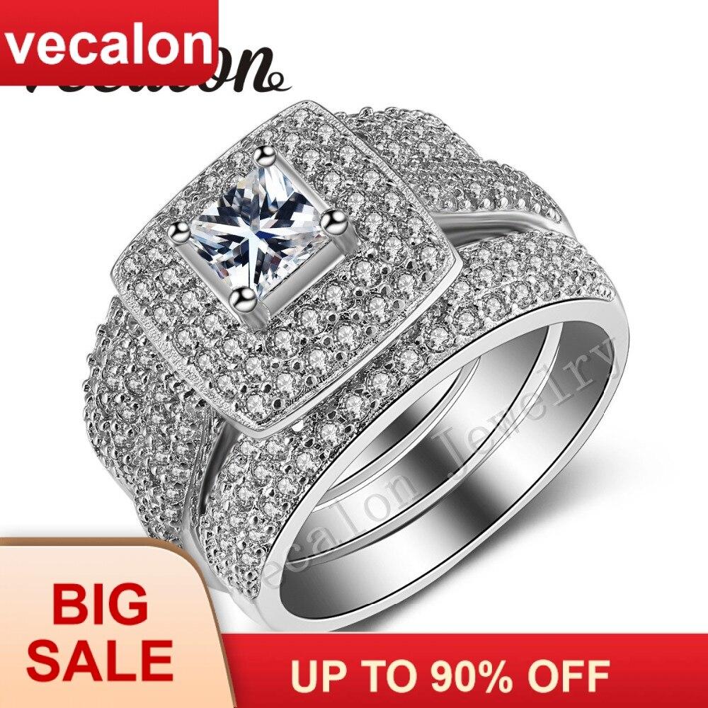 Vecalon 188 шт камень фианит AAAAA 14KT Белое золото заполнено 3 в 1 Обручение обручальное кольцо для Для женщин Sz 5 11