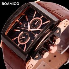 BOAMIGO Rectangle Quartz Analog Watch Men Leather Strap Big Clock Man Wristwatch Mens Fashion Casual Relogio Masculino