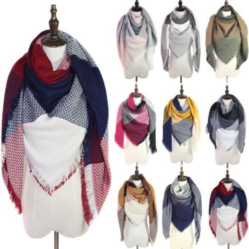 41aeb0037 2019 New WInter Pashmina Scarves Women Blanket Oversized Tartan Scarf Wrap  Shawl Plaid Cozy Pashmina Scarves