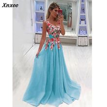 Xnxee Elegant Long Dress Women Evening Summer Party Sexy V-neck Floral Maxi Plus Size Clothing S-4XL