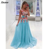 Xnxee Elegant Long Dress Women Evening Summer Dress Party Sexy V neck Floral Maxi Dress Plus Size Women Clothing S 4XL
