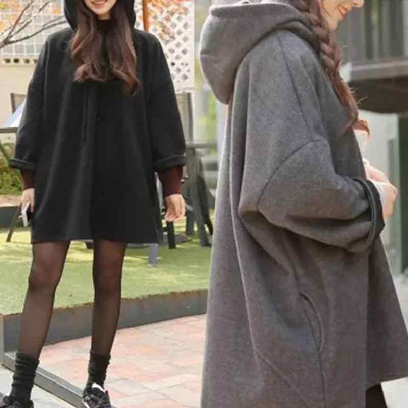 المرأة عادية الخريف والشتاء النسخة الكورية حجم كبير كل مباراة صوف مبطن فضفاض بأكمام طويلة مقنعين عباءة نمط