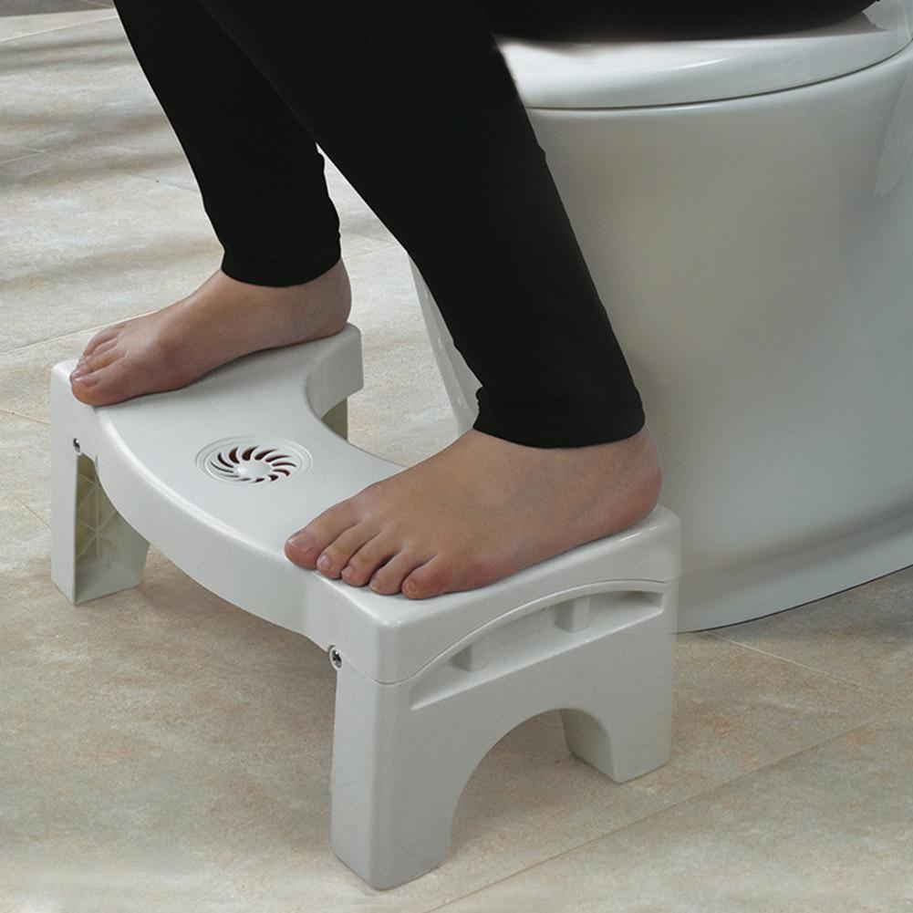 Kamar Mandi Anti Sembelit untuk Anak-anak Lipat Plastik Footstool Jongkok Bangku Toilet