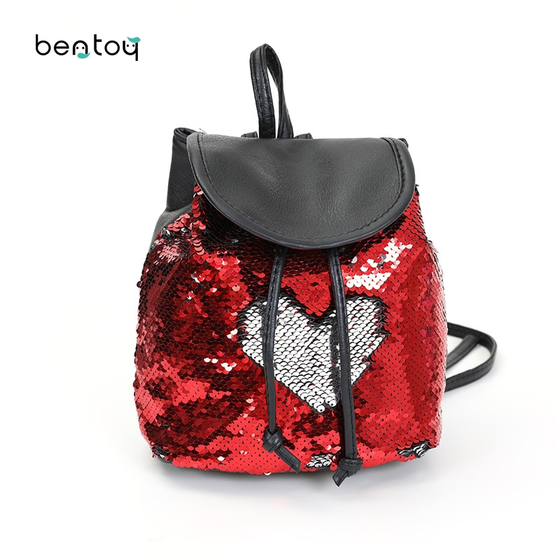 New Sequins Women Leather Backpacks Pu String Mini Backpack Ladies Casual Travel Backpack Mochilas School Bags For Teenagers