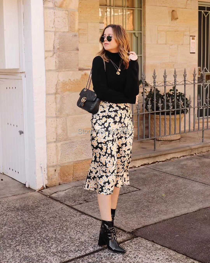 2018 Silk Satin The Naomi Flower Floral Print Midi Skirt With Elastic Waist Band Women Ladies