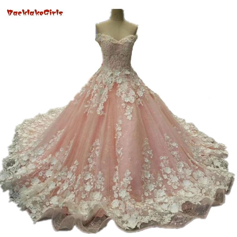 4ba2d7a1fd Diamond Tulle Vintage Wedding Dress 2018 Vestidos de Noivas Pearls Flowers  Pink Bride Dresses Custom Made Princesa Wedding Gowns ~ Free Shipping July  2019