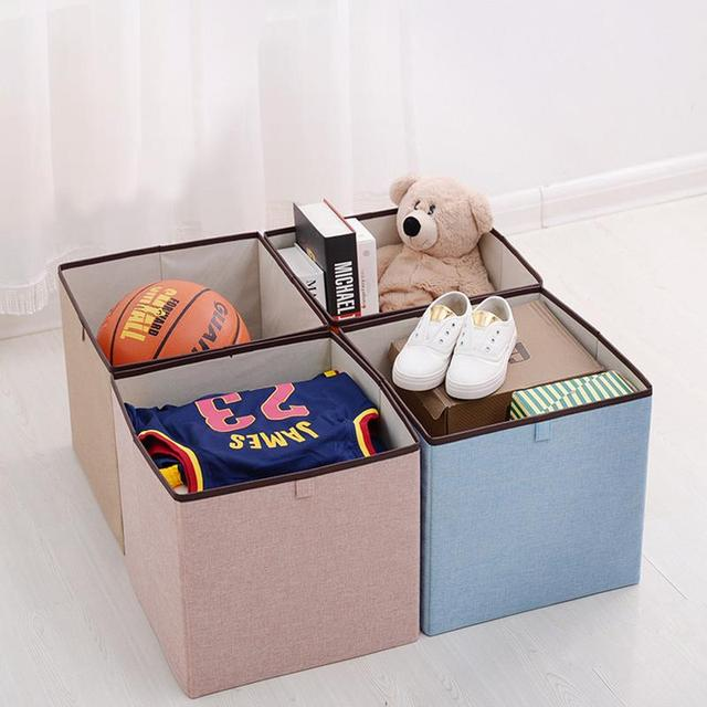 Premium Foldable Clothes Storage Bins Bedroom Organizer Cubes Cotton Linen Baskets Sundries Containers Box For Home
