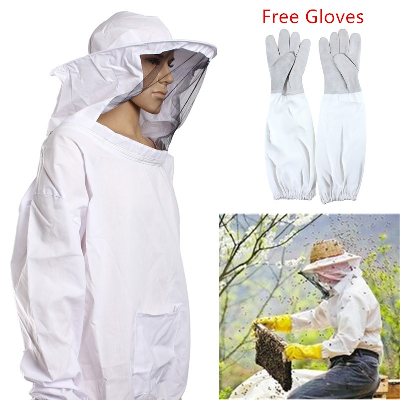 Outdoor Safely Security Protector White Cotton Protective Bee Keeping Jacket Veil Suit +1 Pair Beekeeping Long Sleeve GlovesOutdoor Safely Security Protector White Cotton Protective Bee Keeping Jacket Veil Suit +1 Pair Beekeeping Long Sleeve Gloves
