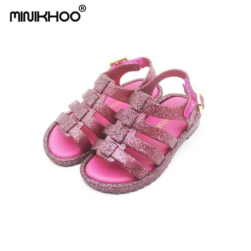 Mini Melissa Girls Rome Sandals 2019 New Melissa Hollow Sandals Toddler Shoes 12.8cm-17.8cm Breathable Melissa Baby Sandals