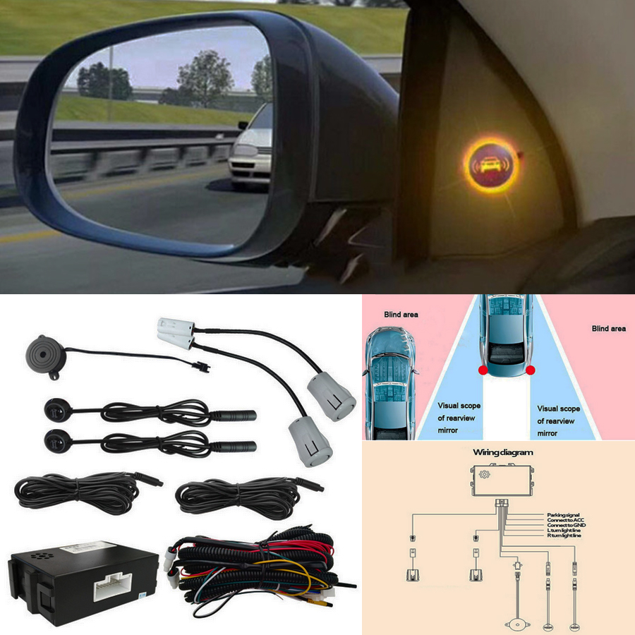 Ultrasonic Radar Blind Spot Detection System BSM Wave Monitoring Assistant Car Driving Security
