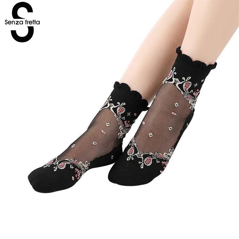 Women Lace   Socks   Summer Ultra-thin Transparent Lace Crystal Rose Flower Ankle   Sock   Women Girls Summer Short   Socks   NYY5432