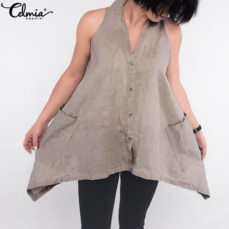 Celmia 2019 Verão Mulheres Sexy Blusa Sem Mangas Casual Assimétrica Halter Camisa Túnica Tops com Botões de Linho Blusas Femininas 5XL