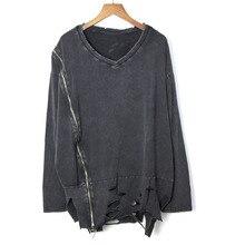 Весна-лето, женский Повседневный пуловер, открытая футболка, Европейская мода, длинный рукав, v-образный вырез, одноцветная футболка с дырками