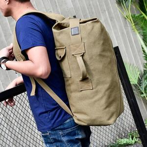 Image 4 - Military Tactical Canvas Backpack Men Male Big Durable Army Bucket Bag Outdoor Sports Duffle Shoulder Bag Casual Travel Rucksack