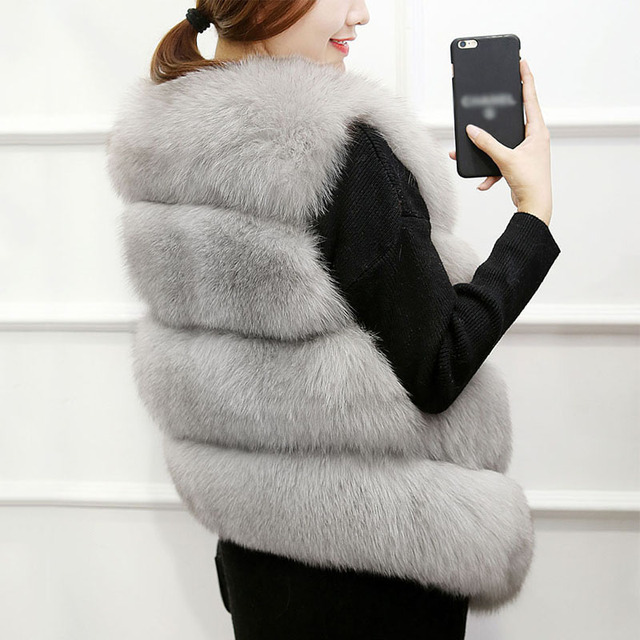 Faux Fur Winter Vest Women Soft Trouching Waist Coats Female Sleeveless Jacket For Ladies 2020 Fashion Fake Fur Outerwear Femme