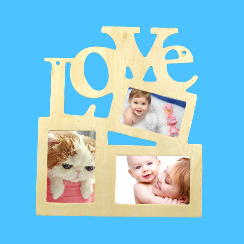 DIY Hollow Love Wooden Photo Picture Frame Rahmen Home Decor Wall Collage Gift WALL PHOTO FRAME