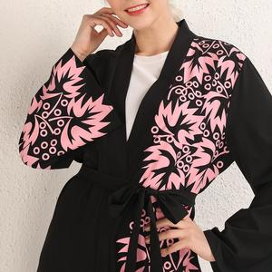 Image 5 - 우아한 이슬람 인쇄 abaya 맥시 드레스 카디건 스윙 긴 가운 가운 벨트 튜닉 중동 라마단 두바이 아랍 이슬람기도