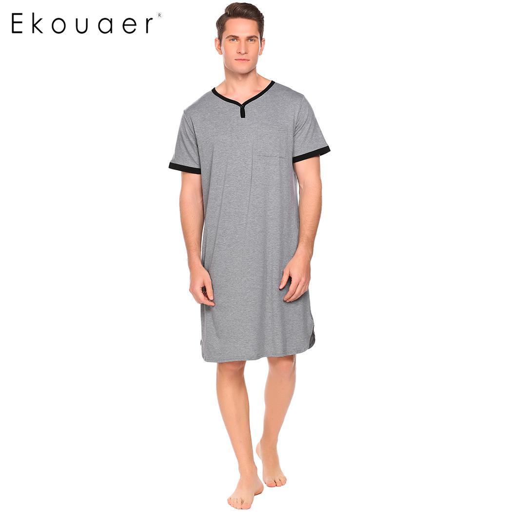 Ekouaer Men Loose Sleepshirt Soft Nightwear V Neck Short Sleeve Contrast Color Pocket Nightshirt Male Long Sleepwear Tops