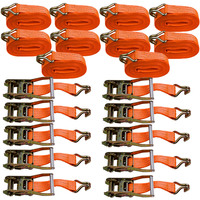 10pc 10m x 5000kg Heavy Duty Ratchet Strap Trailer for Vehicle Load Luggage Tie Down Recovery Transporter Handles Metal Ring