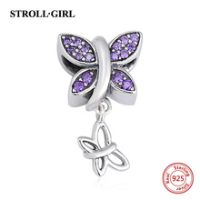 100 925 Sterling Silver butterfly Charms Beads with purple CZ Fit Authentic Pandora bracelets Jewelry making for women gift