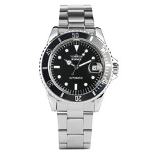 Automatic Mechanical Watch Women Black Dial Colck Calendar Function Mechanical Watches Stainless Steel Mechanical Wristwatches цена и фото