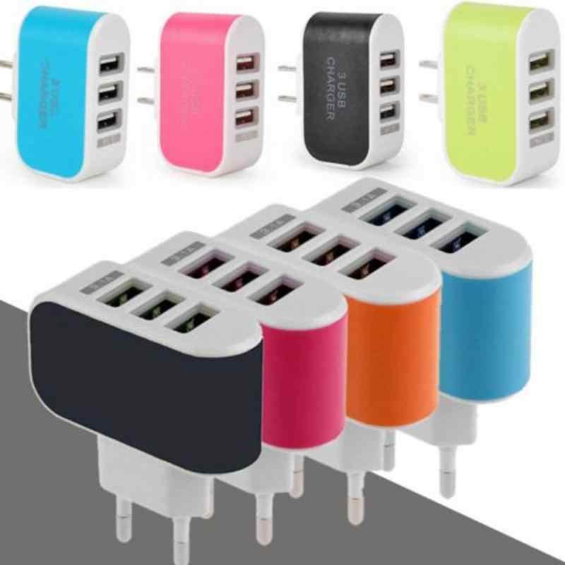 ชาร์จโทรศัพท์แบบพกพา Wall Charger พอร์ตหลายพอร์ต USB 3 พอร์ตอะแดปเตอร์สำหรับโทรศัพท์มือถือ