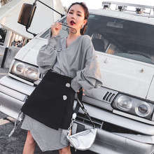 2019 irregular design V-neck fashion suit dress female long-sleeved and skirt two-piece women's set  spring and autumn 486