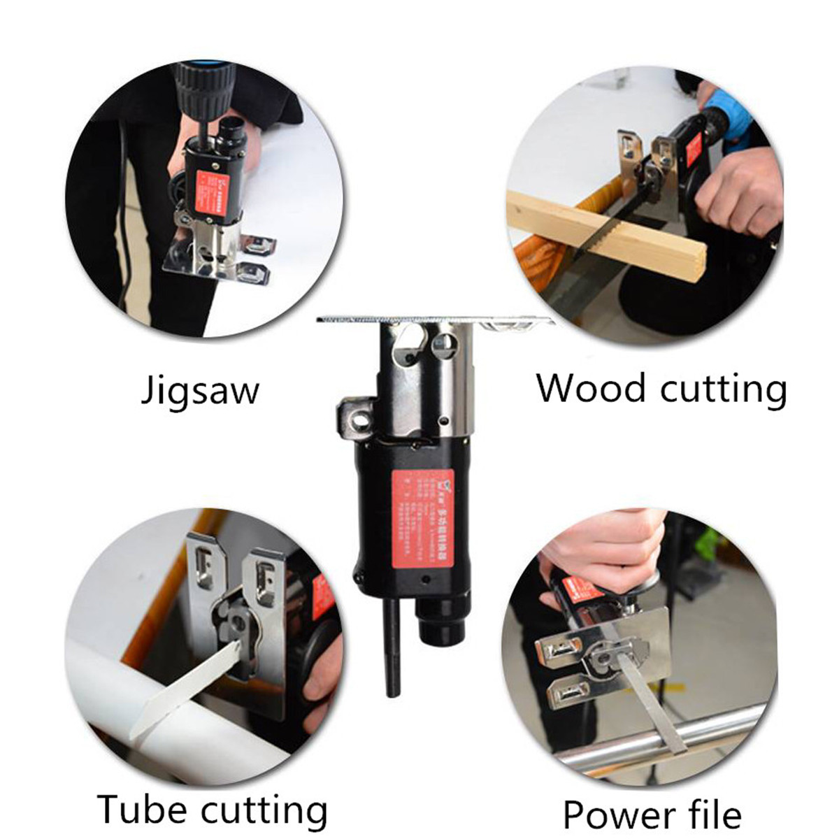Image 5 - Multifunction Reciprocating Saw Attachment Change Electric Drill into Reciprocating Saw Jig Metal File for Wood Metal Cutting-in Electric Saws from Tools on