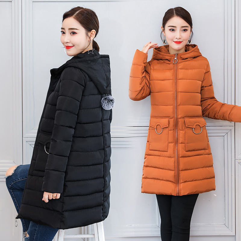 2018 Real Winter New Cotton-padded Girls Long Fund Will Code Loose Coat Self-cultivation Hat Thickening Cotton Generation Hair