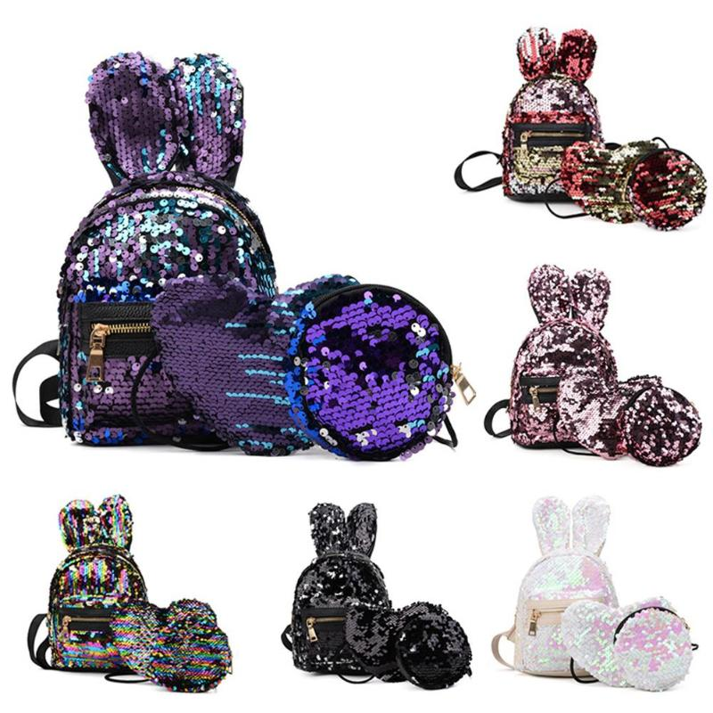 3pcs/Set Women Rabbit Ears Sequins Mini Backpack Sequins Bags for Girls Teenage Shoulder School Backpack Fashion Day Clutch New3pcs/Set Women Rabbit Ears Sequins Mini Backpack Sequins Bags for Girls Teenage Shoulder School Backpack Fashion Day Clutch New