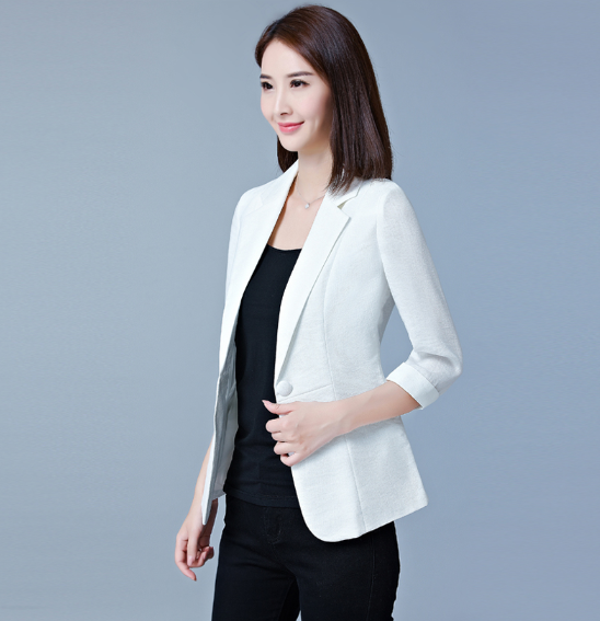 Plus Size Women's Blazers Three Quarter Sleeve Suit Jackets  Summer Single Button Oversized Office Lady Suit Coat