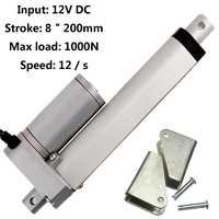 WOLIKE 8/16 Electric Linear Actuator 12V DC Motor 200mm Stroke Linear motor Controller 1000N 225 LB Aluminum