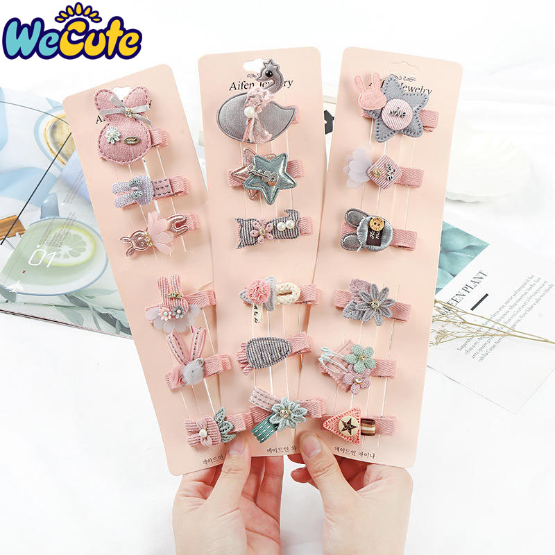 Wecute New Fashion Hair Pins Children's Cartoon Cloth Baby Hair Clips Set Cute Headwear Toddler Kids Girl Birthdday Gifts