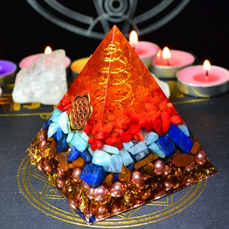 Natural Spar Orgonite Pyramid Ornaments Orgone Energy Converter Aura Chakra Stone That Changes The Magnetic Field Of Life Gift