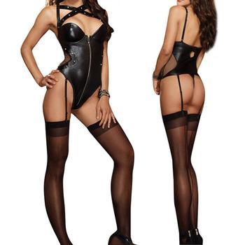 Sexy Leather Underwear Black Latex Rivet Lingerie 1