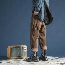 Pantalones casuales de algodón para hombre de tela gruesa de pana de invierno 2018 pantalones de alta calidad caqui/Verde/gris pantalones M 2XL